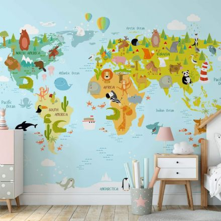 "Paper photo wallpaper ""Animals of the World Map"""